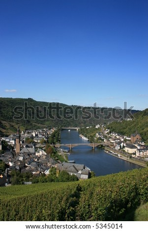 Overlooking Cochem Germany and the Moselle River. - stock photo