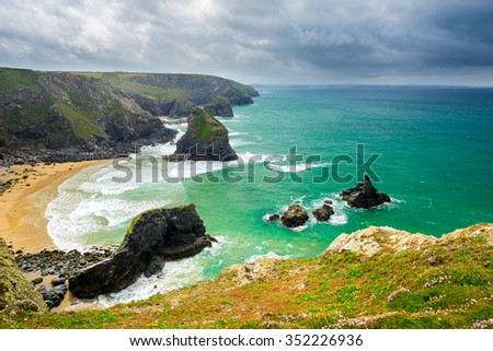 Overlooking Pentire Steps Beach looking towards Bedruth Steps near Newquay Cornwall England UK Europe