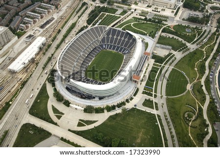 Overlooking Soldier Field on a bright summer day - stock photo