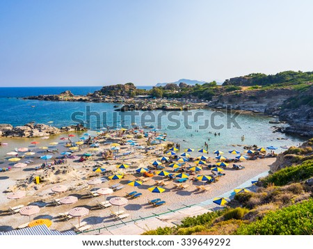 Overlooking Tassos Beach near Faliraki Rhodes Dodecanese Greece Europe - stock photo