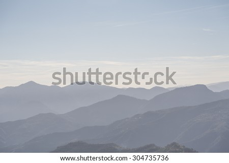 Overlooking the Apennine Mountains in the Ligurian countryside - stock photo