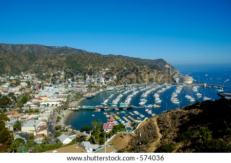 Overlooking the Casino Building and boats anchored in Avalon Harbor, Avalon, Catalina Island California. - stock photo