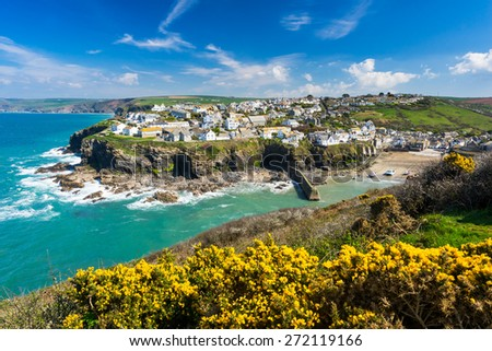 Overlooking the harbour at the pretty fishing village of Port Isaac on the North Cornwall coast, England UK Europe - stock photo