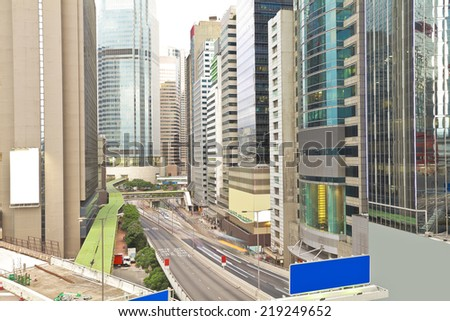 Overlooking the scenic city road traffic buildings of hongkong  - stock photo