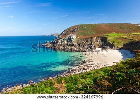Overlooking the secluded beach at Portheras Cove near Pendeen in Penwith Cornwall England UK Europe - stock photo