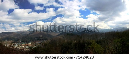Overlooking the vacation town of Gatlinburg Tennessee - stock photo