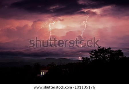 Overnight storms bring wind and lightning. - stock photo