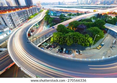 overpass at night, shanghai china - stock photo