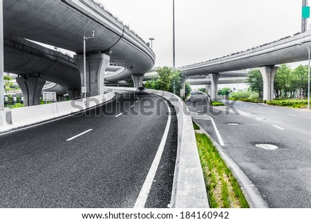 overpass bridge, low angle view at shanghai china. - stock photo