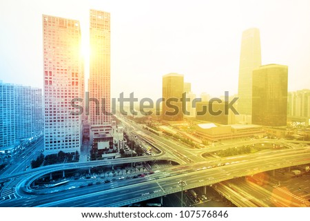 overpass whti motion in modern city,beijing - stock photo