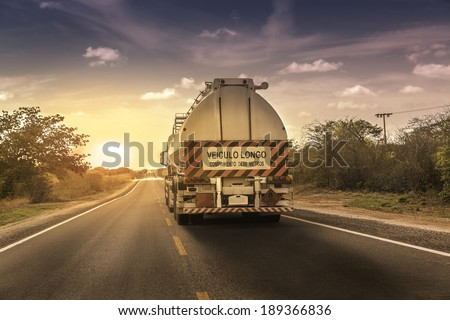 Oversize truck with trailer in northern Brazil - stock photo