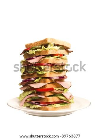 Oversized sandwich isolated on white background - stock photo