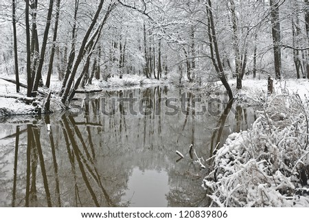 Overture of winter. River Sukhodrev. Kaluga region. Russia - stock photo