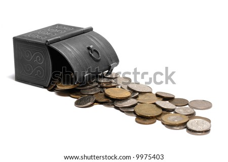 Overturned box with coins isolated on white - stock photo