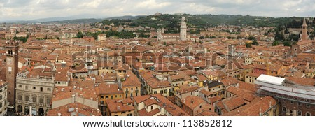 Overview at the old city of Verona on Italy, UNESCO World Heritage - stock photo