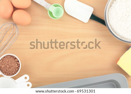 Overview Baking on Wood Bench - stock photo