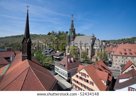 overview middle age town Esslingen Germany  with vineyard and churches - stock photo