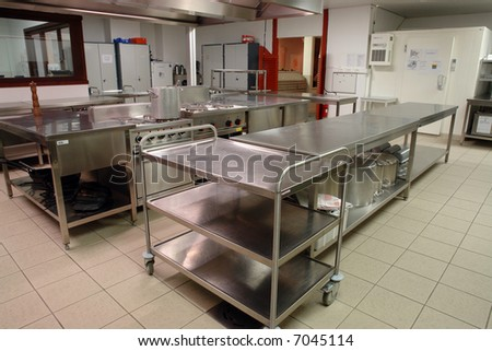 overview of a professional kitchen with all the materials - stock photo