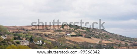 Overview of a typical village of La Rioja on a cloudy day - stock photo