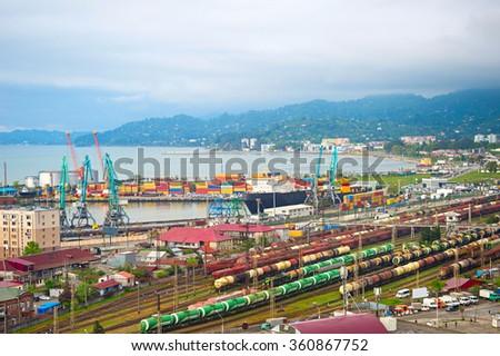 Overview of Batumi industrial sea port. Georgia Republic - stock photo