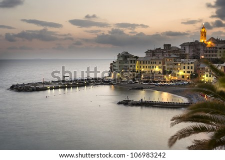 overview of Bogliasco,small village in Mediterranean sea, Italy