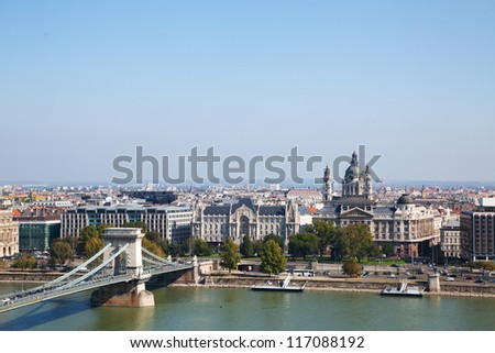 Overview of Budapest with Szechenyi chain bridge and St. Stephen's Basilica - stock photo