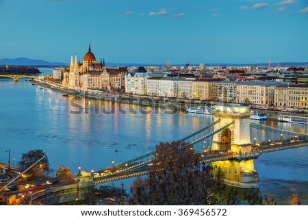 Overview of Budapest with the Szechenyi Chain Bridge at sunset - stock photo
