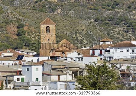 overview of Cadiar, small Moorish village in La Alpujarra. Granada, Spain  - stock photo