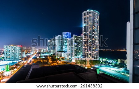 Overview of Illuminated City at Night with High-Rise Buildings, Miami, Florida, USA - stock photo