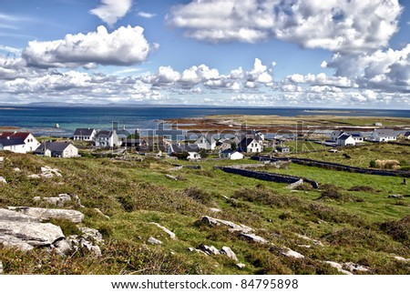 overview of Kileany and the beautiful landscape of Inis Mór Island, Ireland. - stock photo