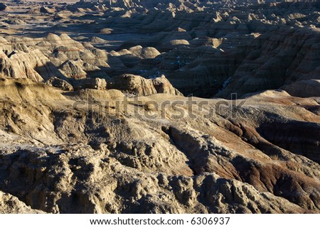 Overview of landscape in Badlands National Park, South Dakota. - stock photo