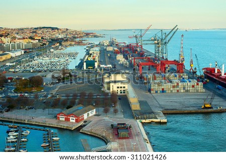 Overview of Lisbon harbor and industrial port. Portugal - stock photo