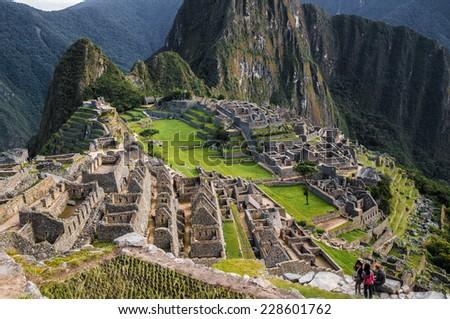 Overview of Machu Picchu ruins, Peru.  - stock photo