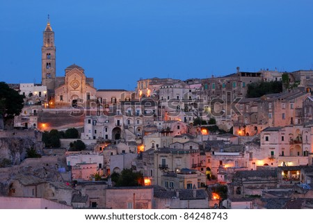 Overview of Matera city in the Sunset
