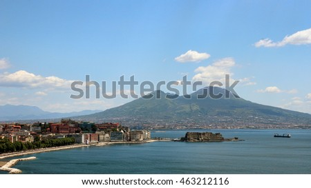 overview of Naples bay with Mount Vesuvius, Italy