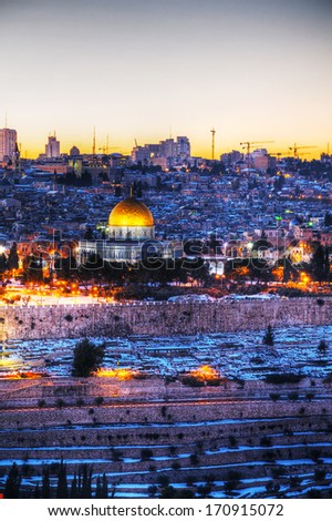 Overview of Old City in Jerusalem, Israel with The Dome of the Rock - stock photo