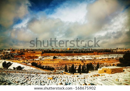 Overview of Old City in Jerusalem, Israel with The Dome of the Rock Mosque - stock photo