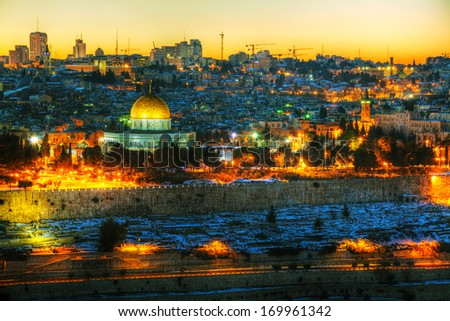 Overview of Old City in Jerusalem, Israel with The Golden Dome Mosque