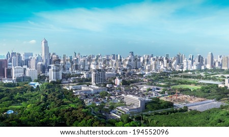 Overview of one of the most important financial districts with bank headquarters, financial institutions and office buildings in Bangkok