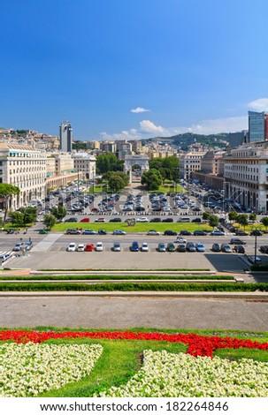 overview of  Piazza della Vittoria  in Genova, Liguria, Italy - stock photo
