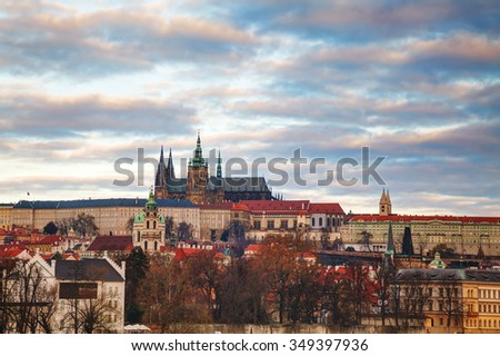 Overview of Prague, Czech Republic in the morning