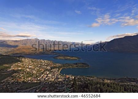 Overview of Queenstown, New Zealand - stock photo