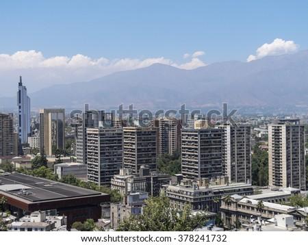 Overview of Santiago de Chile, Chile - stock photo
