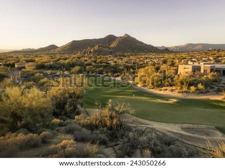 Overview of Scottsdale Arizona,USA golf course land development - stock photo