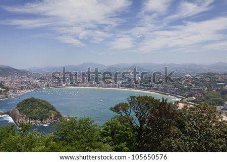Overview of the Bay of San Sebastian, Spain - stock photo