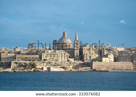 Overview of the city of Valletta, Malta, from the town of Sliema - stock photo