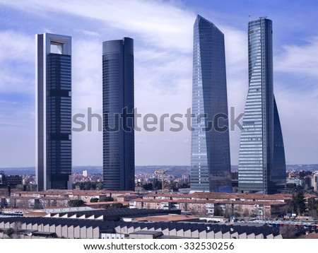 Overview of the four most emblematic skyscrapers of modern Madrid