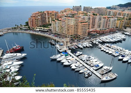 Overview of the harbor of Monaco - stock photo