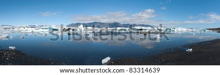 overview of the lake with icebergs in Iceland Jokulsarlon