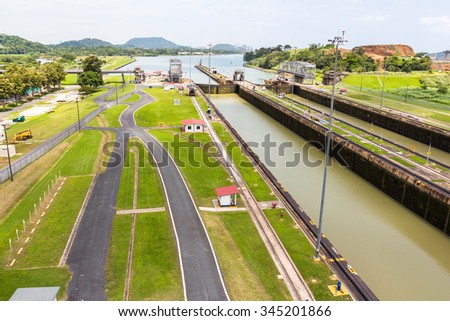 Overview of the Panama Canal at Miraflores lock - stock photo